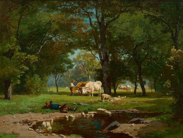 'Herders met vee bij een bosbeek' - olieverf op doek: Gerard Bilders