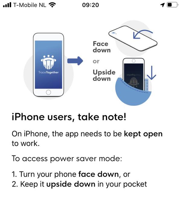 De contactonderzoeksapp in Singapore, die iPhone-gebruikers open moeten laten.