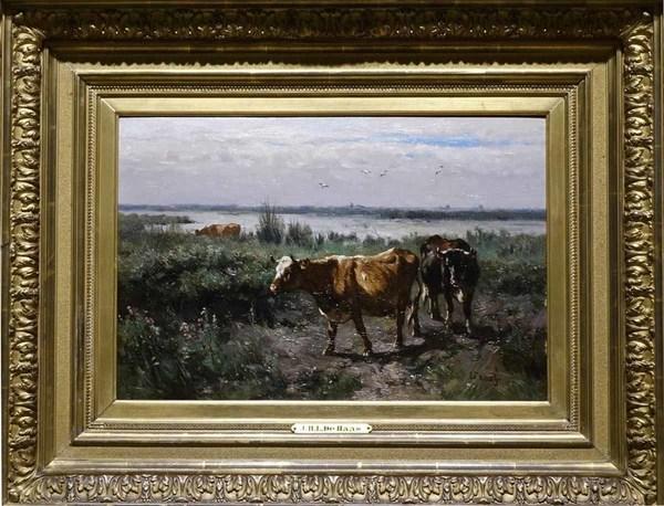 'Koeien in Hollands landschap' - olieverf op paneel: J.H.L de Haas (kavel 697 Veilinghuis Van Spengen)