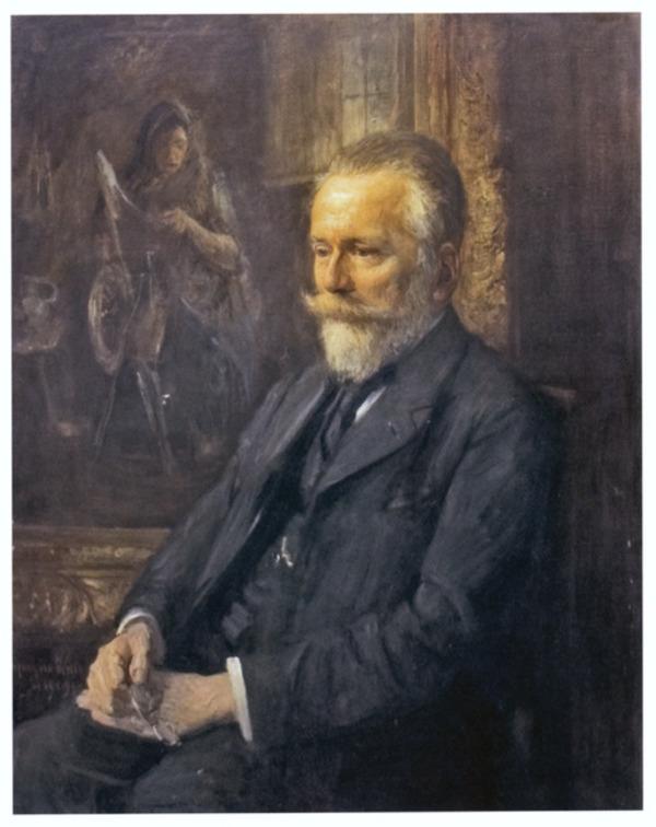 'Portret van de kunsthandelaar H.G. Tersteeg voor 'De Spinster' van Jozef Israëls' 1909 - olieverf op doek: Antoon van Welie