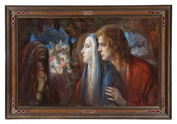 'De drie getrouwen' gedateerd: '33 + '38 + '50 - olieverf op doek: Antoon van Welie (herkomst: coll. Daatselaar Fine Arts & Antiques)