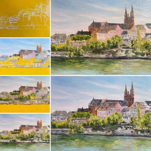 Rhine River in Basel Switzerland work-in-progress by Terrill Welch