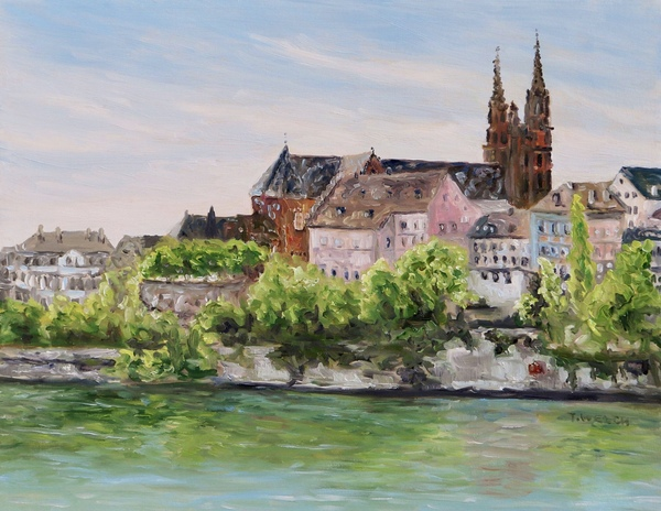 Sold - Rhine River in Basel Switzerland by Terrill Welch 14 x 18 inch oil on canvas