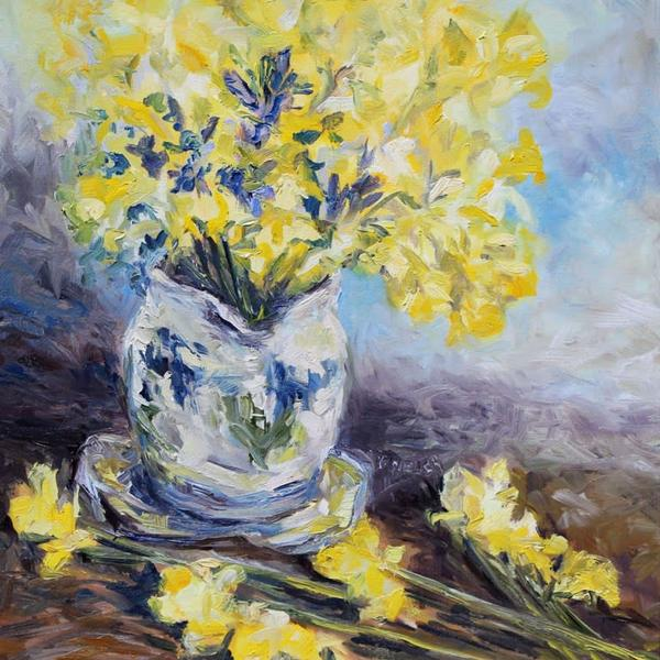 Sold - Suggestion of Daffodils by Terrill Welch 16 x 16 inch oil on canvas