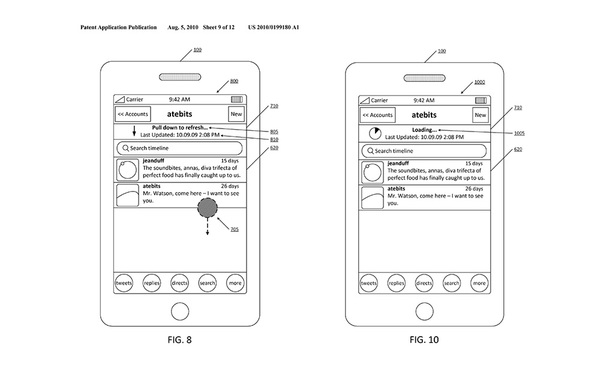 US Patent 20100199180 — 'Pull to Refresh'