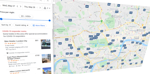 Google highlights hotels that cater to COVID-19 responders