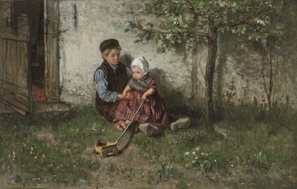 Jozef Israëls (Dutch, 1824-1911), Children Playing with a Toy Wagon | Christie's