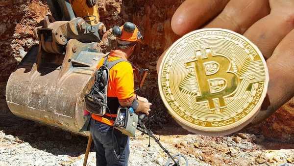Image: Hardworking field engineer mining bitcoins