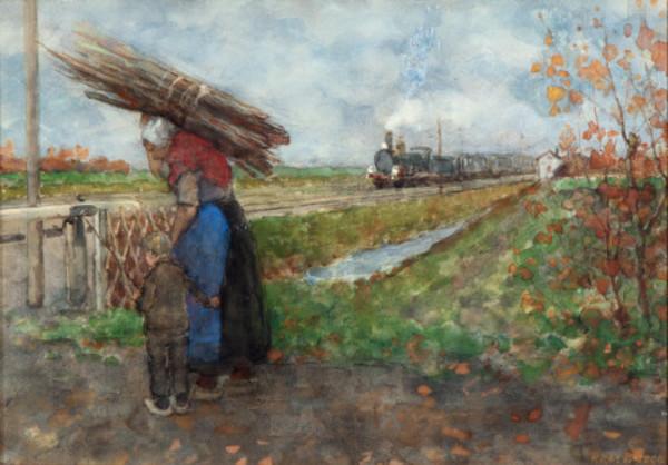 'Houtsprokkelaarster bij de treinovergang' - aquarel: Richard Bisschop ( lot 125 Venduehuis Den Haag)