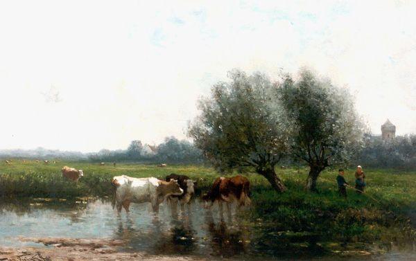 'Polderlandschap met koeien en visser aan de waterkant' - olieverf op paneel: Jan Vrolijk (herkomst: voorm. coll. Simonis & Buunk)