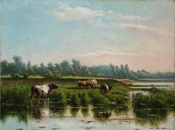 'Koeien aan de waterkant' olieverf op doek: Jan Vrolijk (herkomst: coll. Galerie Trompenburgh)