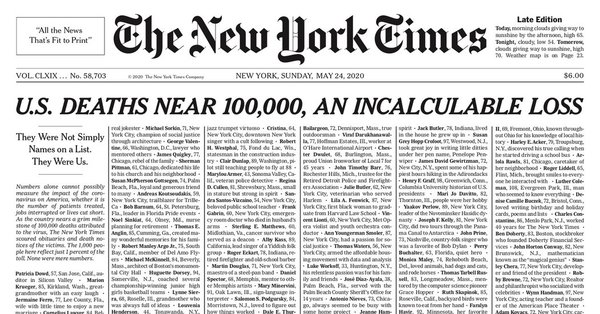 7. New York Times trykte navnene på næsten 1.000 coronaofre på forsiden