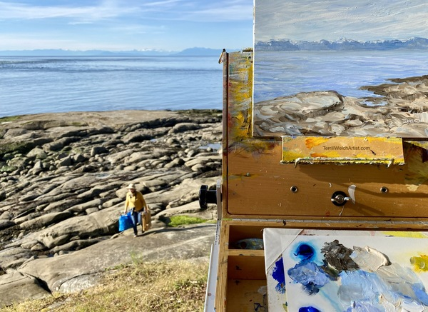 Plein air painting in the evening along the shores of Active Pass.