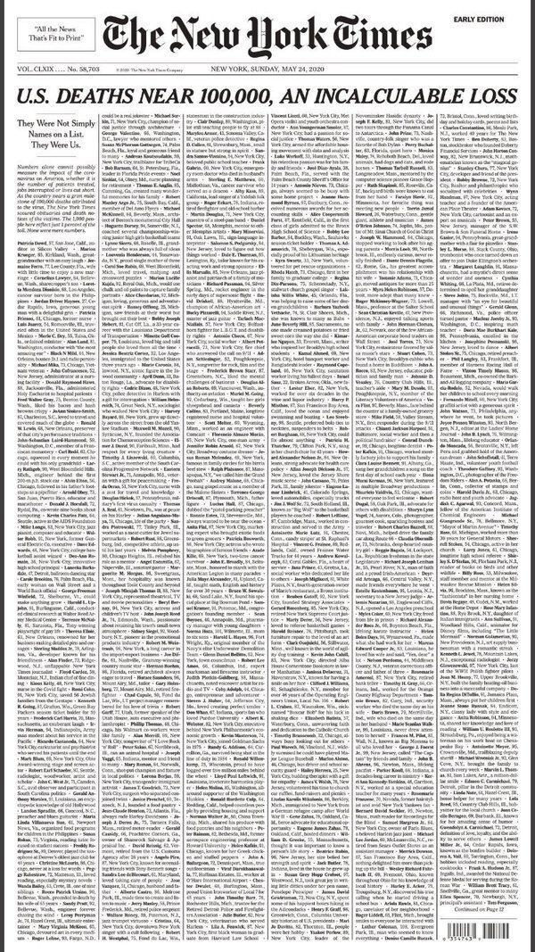 Voorpagina van de New York Times