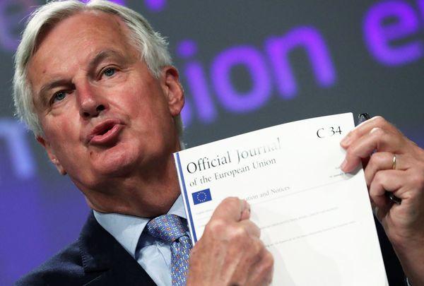 Michel Barnier na afloop van de brexit-onderhandelingen