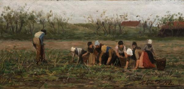 'Potato harvesters at work' - olieverf op board: Philip Sadée (lot 119 NRC Veilingen)
