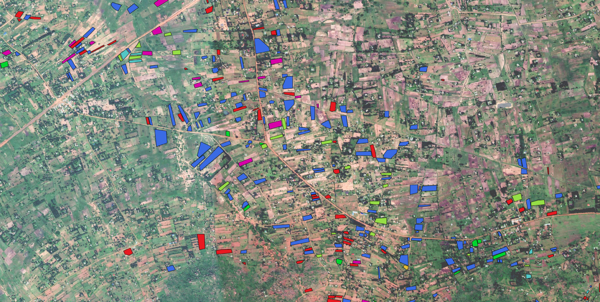 """Sample fields (color coded with their crop class) overlayed on Google basemap from Western Kenya."" (Radiant Earth)"