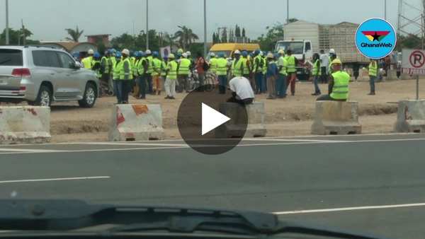 Police prevent agitated construction workers from disrupting Tema interchange commissioning