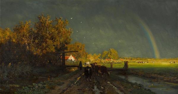 'De regenboog' 1875 - olieverf op doek: Willem Roelofs (coll. Kunstmuseum Den Haag)