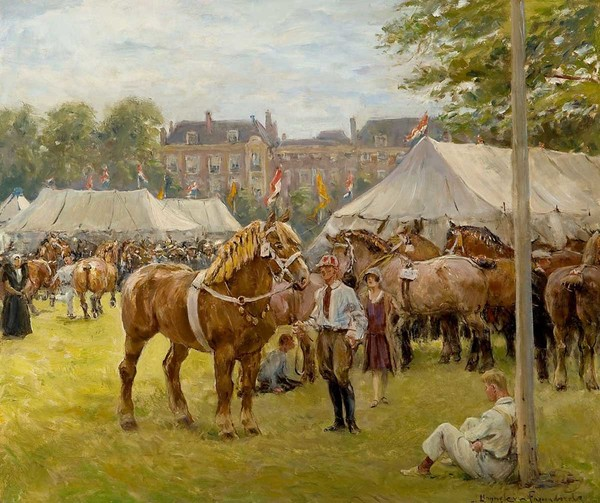 'De nationale trekpaardententoonstelling op het Malieveld' - olieverf op doek: Jan Hoynck van Papendrecht (herkomst: coll. Mark Smit Kunsthandel)