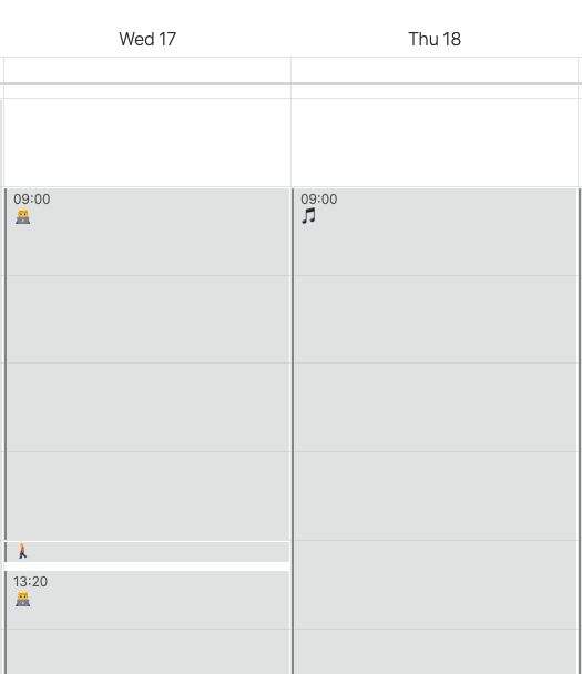 Screenshot of my calendar