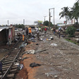 Newly constructed railway washed away by flood waters at Achimota