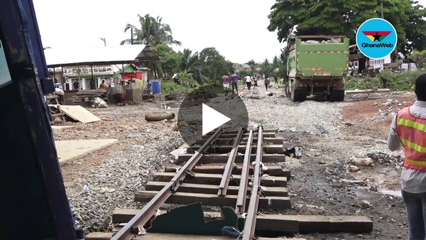 Newly constructed railway washed away by flood at Achimota