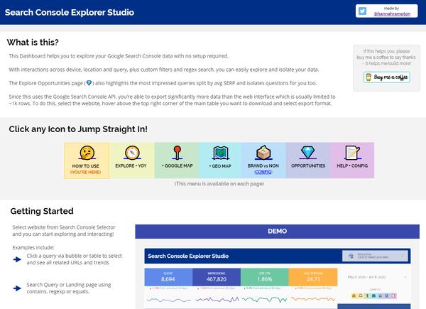 Search Console Explorer Studio (Google Data Studio) - Hannah Rampton