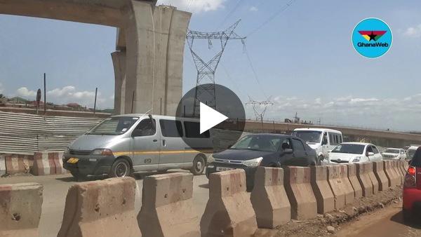 Massive traffic on Pokuase interchange stretch as work progresses