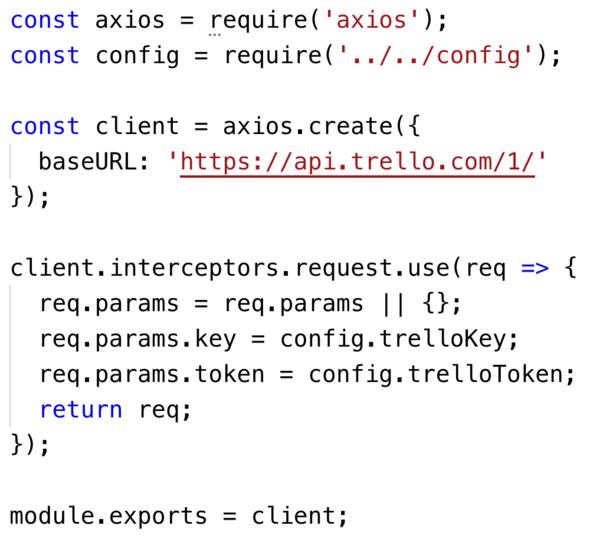 Minimal Trello API client in Axios, assuming `config.js` contains credentials