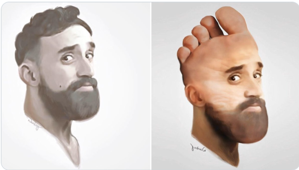 Rob and some fan art of Rob as a foot