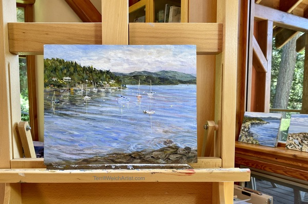 """Still on the easel """"Village Bay Morning"""" by Terrill Welch"""