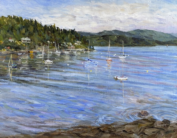 """Sold- """" Village Bay Morning"""" by Terrill Welch 11 x 14 inch, acrylic on linen board."""