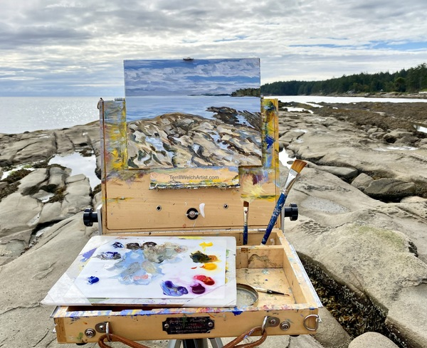 Terrill Welch plein air painting at Reef Bay