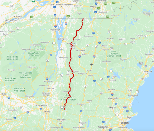 The Long Trail (in red)