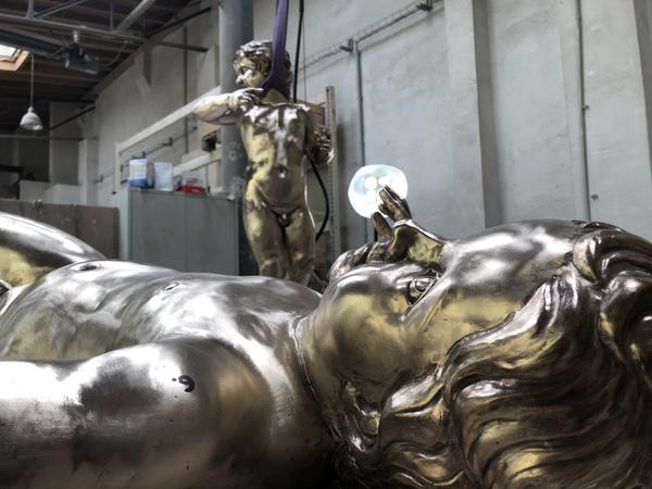Die Bronzeknaben in der Kunstgießerei Flierl. Foto: Peter Degener