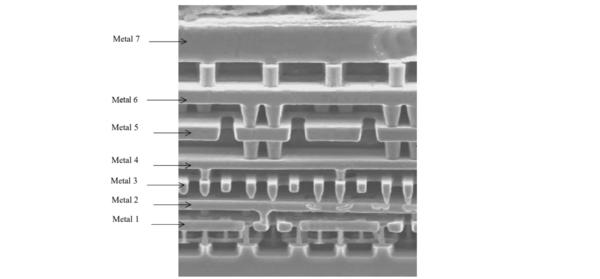 7 camadas de metal entalhadas em material semicondutor. Os cilindros metálicos são vias para jogar a corrente para uma camada superior ou inferior.
