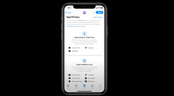 Apple's new app privacy display.
