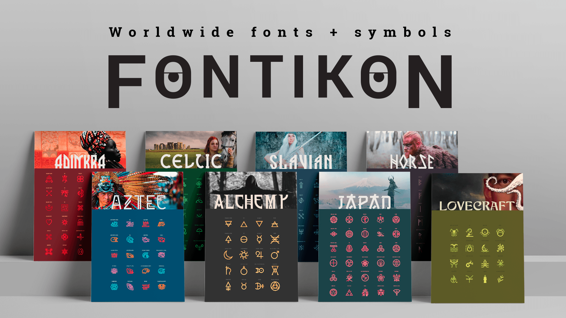 Fontikon is a collection of fonts and symbols inspired by ancient civilizations from around the world.
