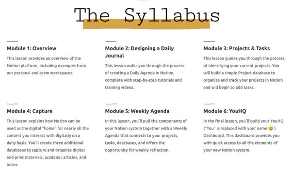 Notion for Academics Online Program Module Outline