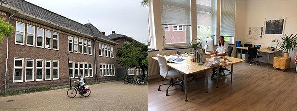 Het kantoor aan de Batjanstraat in Amsterdam met gezellige kantoorgenoten.