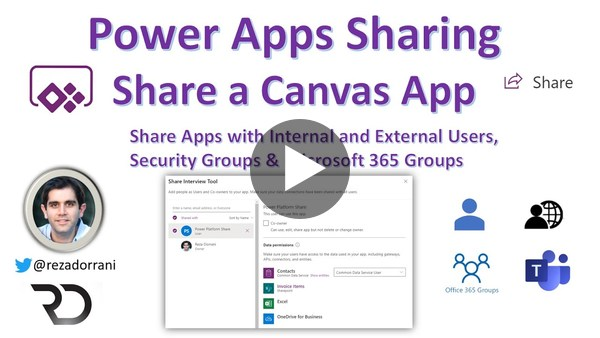 Share Power Apps with Internal Users, External Users, Security Groups & Microsoft 365 Groups