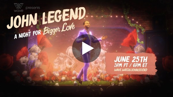 """Nearly half a million people tuned in to Wave for the VR concert """"John Legend LIVE - A Night For """"Bigger Love"""". The concert marks a new milestone in the quality, attendance and corporate sponsorship of live VR."""