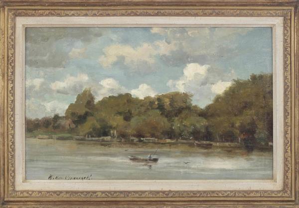 'Landschap met visser in bootje op rivier' - marouflé: Willem Oppenoorth (Veilingbedrijf Derksen, kavel 345)