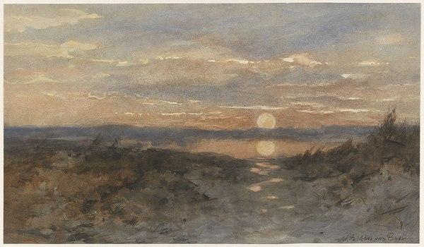 'Landschap met zonsondergang' - aquarel: Marie Bilders-van Bosse (herkomst: coll. Rijksmuseum Amsterdam)