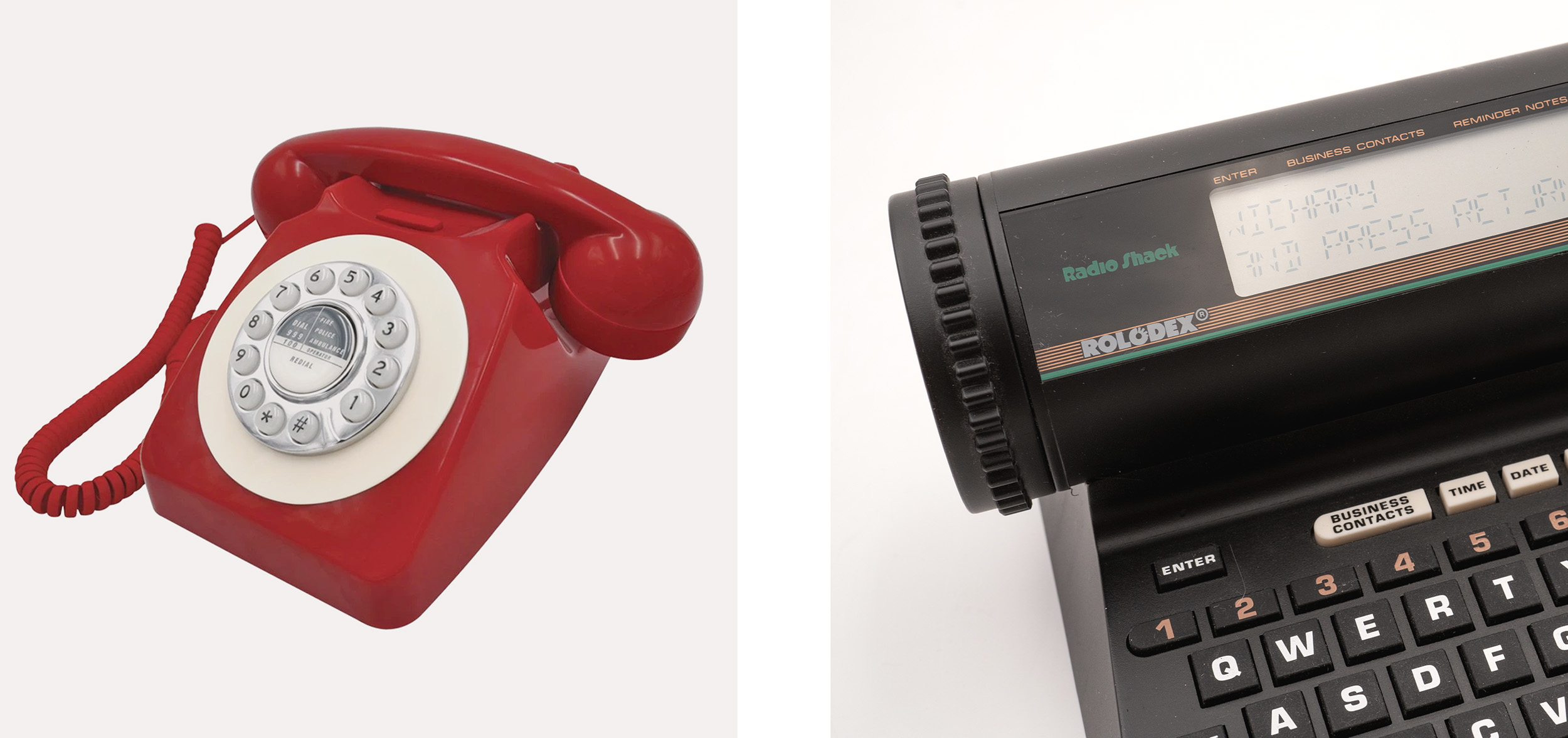 A modern hybrid rotary dial/push button phone, and a 1980s computerized Rolodex where you still rotated a knob to get to your contacts