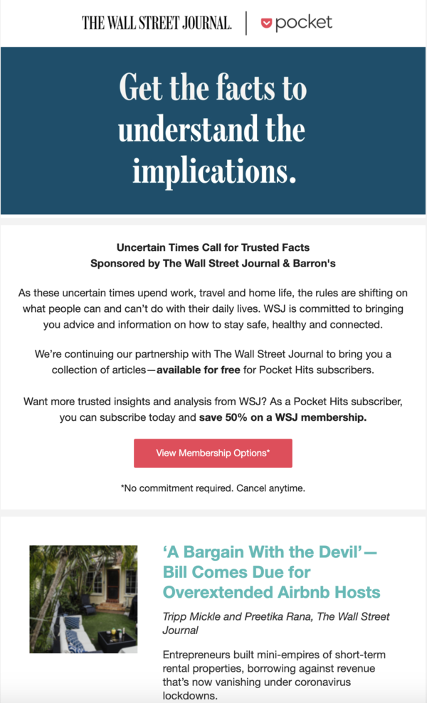 A dedicated email sold by Pocket to The Wall Street Journal