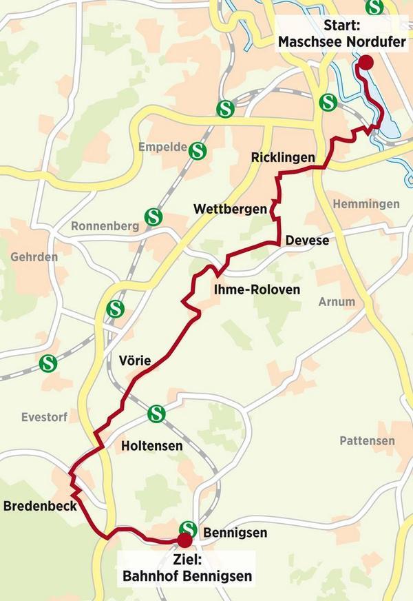 27 Kilometer - die Tour auf der Landkarte.