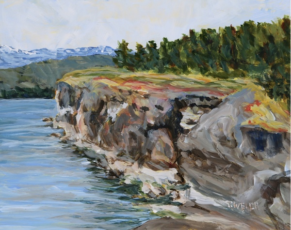 Sold - Helliwell Cliff on Hornby Island by Terrill Welch.