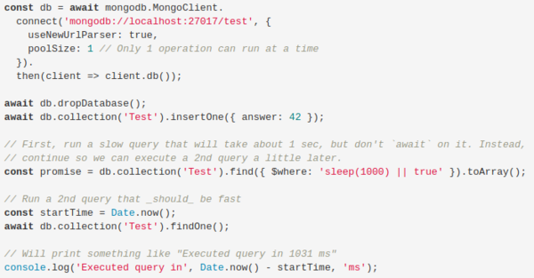 A simple `findOne()` on a 1-document collection can take over 1 second!